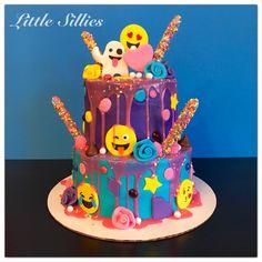 Emoji color drip cake