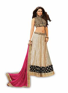 Pretty A Line Lehenga Style in Cosmic Latte Color With Stones Work Dupatta ,Veeshack.com | Fashion for the World - 1