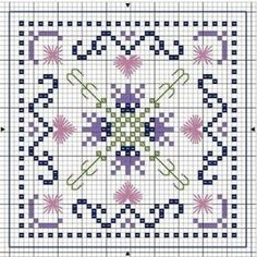 no color chart available, just use the pattern chart as your color guide. or choose your own colors.A PUNO DE CRUZ Biscornu Cross Stitch, Mini Cross Stitch, Cross Stitch Flowers, Cross Stitch Embroidery, Embroidery Patterns, Cross Stitch Designs, Cross Stitch Patterns, Blackwork, Cross Stitch Boards