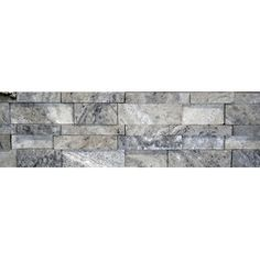"""Faber Travertine Cubic Honed Wall Cladding 20"""" x 7"""" Tile in Silver and Gray"""