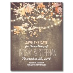 Rustic save the date postcards with cute and fancy blooming tree branches and hanging string of lights. Perfect save the date for outdoor wedding.