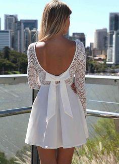 White Party Dress - White Long Sleeve Skater Dress | UsTrendy