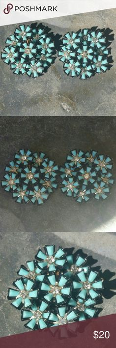 "Vintage Flower and Rhinestone Clip Earrings Blue flowers with a black outline and prong set rhinestone center. 1 3/4"" They would look great clipped on a chain for a statement necklace Jewelry Earrings"