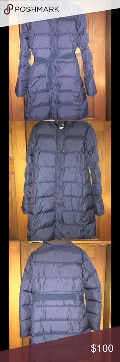 JCrew long down jacket Navy blue JCrew down puff Long jacket with waist tie.  In great condition and ver warm.  Zip with snaps jcrew Jackets & Coats Puffers