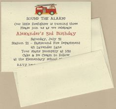FIRE TRUCK Invitation  Full Service Printing by BabadooStationery, $15.00  www.BabadooDesigns.com