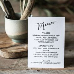 Our new Calligraphy Wedding Menu rubber stamp, team it with the rest of the collection, available now. Wedding Calligraphy, Wedding Stationery, Wild Mushrooms, Stuffed Mushrooms, Wedding Menu, Our Wedding, Pomegranate Salad, Wedding Stamps, Limoncello