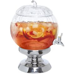 Decorative Clear Glass Pumpkin Shaped Bowl Beverage Dispenser Drink... ($53) ❤ liked on Polyvore featuring home, kitchen & dining, serveware, twisted bowl, clear glass beverage dispenser, pumpkin bowl and clear glass bowl