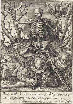 Occult illustration Death lords over concupiscence and pride (Vanitas) - Hieronymus Wierix 1619 Vanitas, Memento Mori, La Danse Macabre, Macabre Art, Dance Of Death, Colonial Art, Arte Obscura, Skeleton Art, Landsknecht