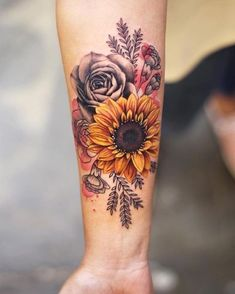 Check out our gallery to get Best Sunflower Tattoo Designs. tattoos Best Sunflower Tattoo Designs In 2020 New Tattoos, Body Art Tattoos, Small Tattoos, Tatoos, Future Tattoos, Styles Of Tattoos, Girly Hand Tattoos, Tattoos Cover Up, Wrist Tattoo Cover Up