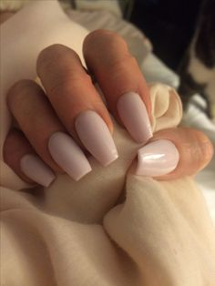 Soft Pink coffin nails, Gell over natural nails