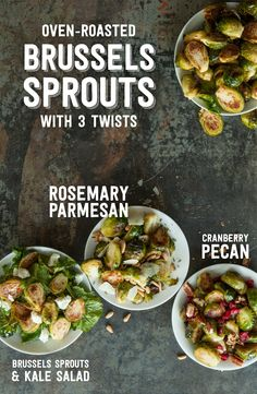 Once you know how to roast Brussels Sprouts, there are so many different ways to enjoy them!  Cranberries & Pecans, Rosemary & Parmesan Cheese... These three side dish preparations are fantastic for your Thanksgiving feast or any other time of the year! Click through for recipes.