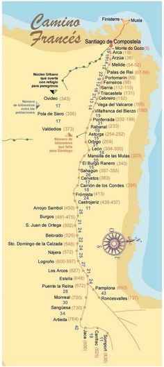 Caminho de Santiago de Compostela. ** For those people who aren't acquainted with the Camino, or Spain, this map is sideways.: