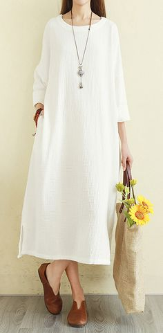 f199d2f5e0 Women o neck side open cotton dress top quality Sewing white Art Dresses
