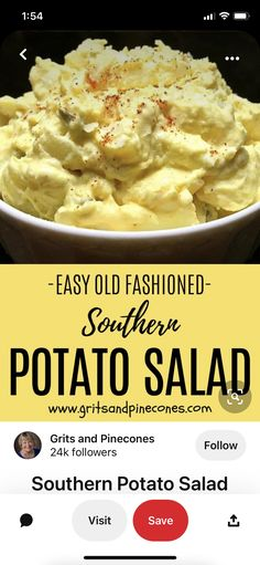 Southern Potato Salad, Creole Cooking, Grits, Southern Style, Mashed Potatoes, Ethnic Recipes, Easy, Food, Whipped Potatoes