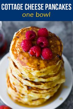 These cottage cheese pancakes are light and fluffy, with pockets of gooey cottage cheese. With 6 g of protein per pancake, they will actually fill you up, and they are simple to mix up in one bowl. #sweetpeasandsaffron #mealprep #pancakes Easter Recipes, Brunch Recipes, Breakfast Recipes, Healthy Food Choices, Healthy Foods To Eat, Cottage Cheese Pancakes, Healthy Vegetarian Breakfast, Best Breakfast, Pancake Breakfast