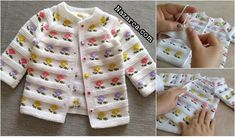 YAKADAN BAŞLANIP ETEKTE BİTEN ÇİÇEKLİ ÇOCUK HIRKA | Nazarca.com Baby Cardigan Knitting Pattern, Baby Knitting Patterns, Knitting For Charity, Knitted Coat, Crewel Embroidery, Sweater Design, Baby Sweaters, Crochet Flowers, Baby Quilts