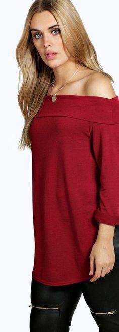 bbced2c6eef5d Plus Leanne Bardot Long Sleeve Knitted Top - Knitwear - Street Style