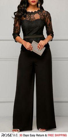 799b503bf6 Peplum Waist Scalloped Neckline Lace Panel Black Jumpsuit. rosewe jumpsuit