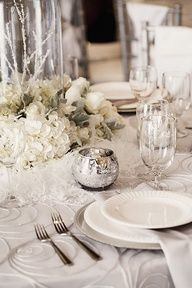 Winter-themed #wedding #decorations. #receptions #tablescapes