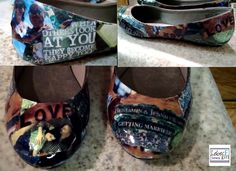 The Wedding Shoes ... tore up pictures of the bride & groom, pasted them on, and lastly, used a spray sealer.