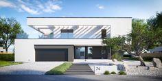Projekt domu HomeKONCEPT-30 /lustro/ | HomeKONCEPT Minimalist House Design, Minimalist Home, Modern House Design, Luxury Homes Dream Houses, House Plans, Pergola, Exterior, Contemporary, Building