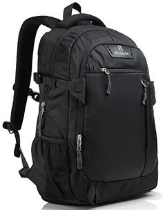 Sport Outdoors Laptop Backpack 17 Inch for Men and Women  Padded  Professional  Lightweight  Soft Nylon  Water Resistant  Ergonomic  With Bottle Holders  for Business  Sports  Travel  Black *** This is an Amazon Affiliate link. More info could be found at the image url.