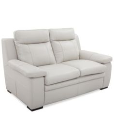 Zane Leather Loveseat | macys.com