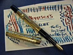 Morrison's Fountain Pen Flex #3 14k Nib Bright Gold Filed Overlay 1920s Flexible #Morrison