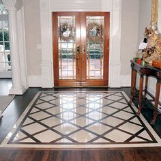 Foyer floor tile ideas photos ceramic tile designs home foyer flooring entryway flooring entry tile small . Entryway Flooring, Kitchen Flooring, Tile Entryway, Entry Tile, Kitchen Tiles, Room Kitchen, Kitchen Cabinets, Wood Tile Floors, Hardwood Floors