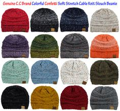 a6f4cde282384b Genuine CC Beanie Colorful Confetti Soft Stretch Cable Knit Slouch Beanie  Slouch Beanie,