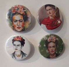 Set of 4 Button Badges. Size: 25 cm (1 inch). Button Badge, Badges, Arcade, Snow Globes, This Is Us, Buttons, Frida Kahlo, Badge, Knots