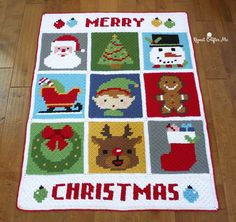 Adorable Christmas Characters crochet blanket. I think I'd use the individual squares for Christmas decorations.
