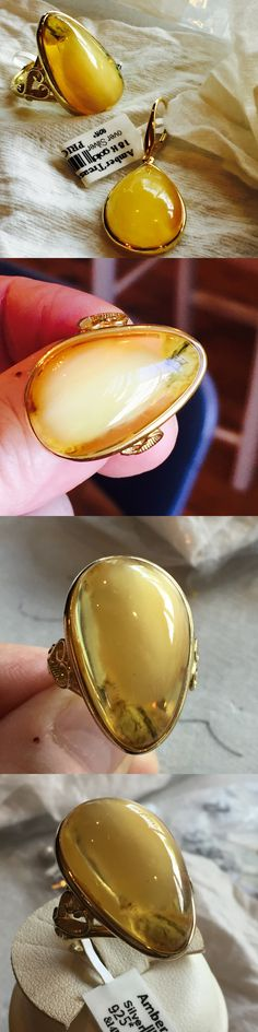Amber 10191: 14K Gold Plated Genuine Russian Baltic Vintage Amber Butterscotch Egg Yolk Ring -> BUY IT NOW ONLY: $204 on eBay!