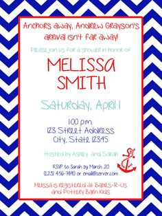 Nautical Baby Shower Invitation - Girl or Boy