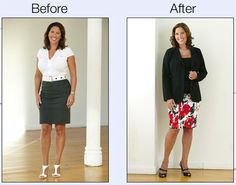 Minimize Your Bust: Going darker on top will always minimize the bust.  Jacket length helps to balance out bustline. www.monroeandmain.com