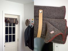 find an old wool blanket and embellish the edges...easy and inexpensive! For the side door
