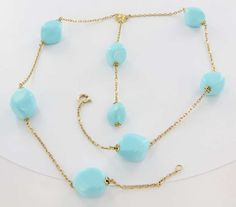Estate 18 Karat Yellow Gold Turquoise Diamond Drop Flower Necklace Fine Jewelry Pre Owned $1,695