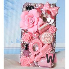 UFINDINGS - DIY 3D Bling Cell Phone Case Deco Kit : Pink Roses, Mirror, Heart and Pearls.
