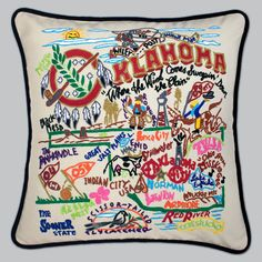 Product Description Our favorite musical & this original design celebrate the State of Oklahoma. From Enid to Ardmore! From the Arbuckle Mountains to Black Mesa! Oklahoma is more than OK! This Pillow