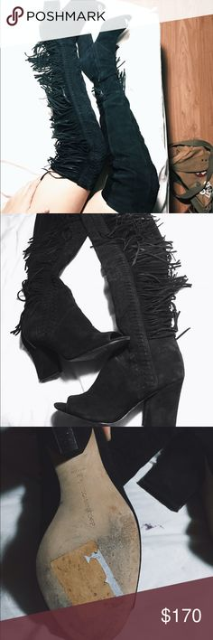 """Rebecca Minkoff isola fringe over the knee boot Straight from 2015 runway and worn one time to a party! I just am too lazy to put these on when I leave the house. Otherwise I love these shoes. Comes with a side zipper. 3.2"""" heel, 22"""" shaft, Genuine suede leather upper, Leather lining and sole. $195 on Rebecca Minkoff website but sold out , original price is $495 Rebecca Minkoff Shoes Over the Knee Boots"""