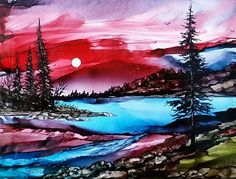 Northern Sky  Alcohol ink on 6x8 tile  By Jewel Buhay