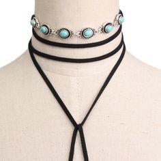 Black Fashion Alloy Blue Stone Velvet Ribbon Multilayer Long Necklace