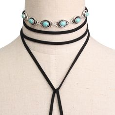 Black Fashion Alloy Blue Stone Velvet Ribbon Multilayer Long Necklace