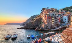Riomaggiore | Cinque Terre Italy (we stayed in the yellow building near the corner)
