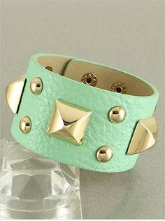Mint Green Faux Leather Studded Cuff Bracelet.