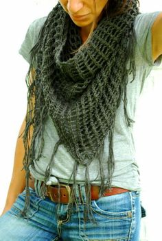 Lovely casual style with denim, t-shirt and crochet scarf
