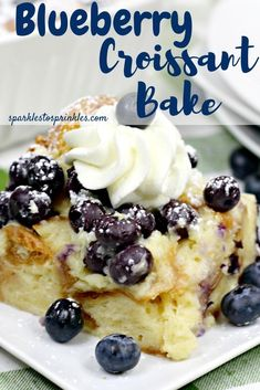 Blueberry croissant bake is an overnight breakfast that is sweet and delightful. Prep the night before and then wake up to toss your blueberry croissant in the oven! Tender, sweet blueberries and loads of cream cheese mixture. Pin for Later! Köstliche Desserts, Delicious Desserts, Dessert Recipes, Cake Recipes, Overnight Breakfast Casserole, Breakfast Bake, Blueberry Topping, Blueberry Cake, 9x13 Baking Dish
