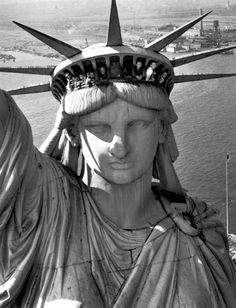 """Margaret Bourke-White, """"Statue of Liberty, New York Harbor"""" 1952. So cool. You can see people peeking out of the crown."""