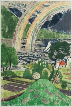 'Rainbow' by Norwegian artist Nicolai Astrup (1880-1928). Color woodcut with hand painting, 60.5 x 40.8 cm. collection: Bergen Kunstmuseum, Norway. via Lawrence Lee Magnuson