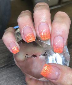 Orange glitter tip fade acrylic nails